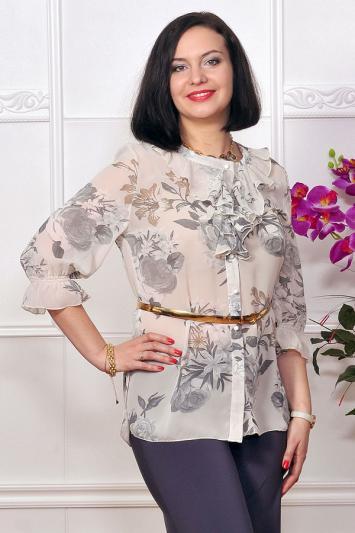 Блуза шифоновая с цветочным принтом. Арт.1709