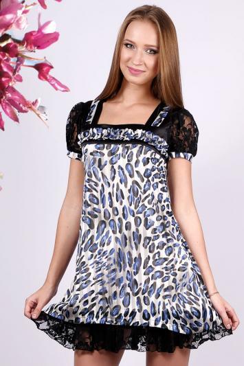 Платье А-силуэта с леопардовым принтом. Арт.9339